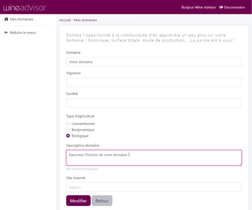Interface infos domaine
